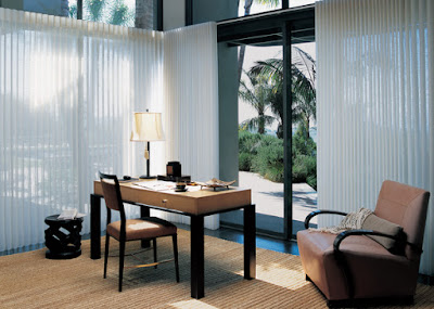 Luminette sheers from Hunter Douglas are perfect for covering patio sliders or large vertical windows.