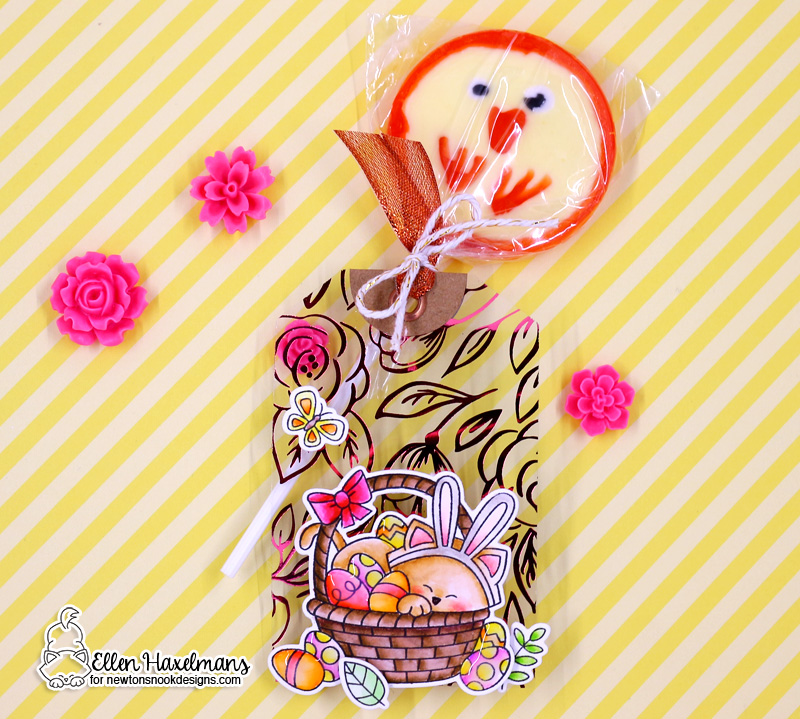 Newton's Nook Designs & Therm O Web Inspiration Week | Foiled Easter Tag by Ellen Haxelmans | Newton's Easter Basket Stamp Set and Holiday Foliage Stencil by Newton's Nook Designs #newtonsnook #thermoweb