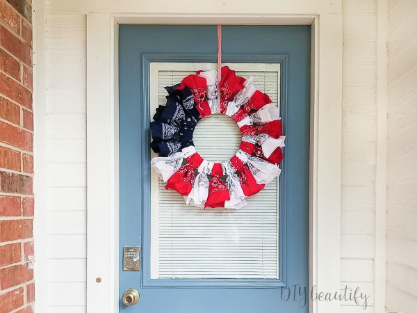 patriotic red white and blue wreath