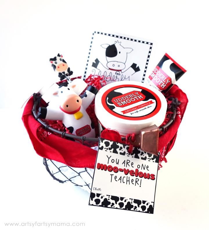 Udderly Smooth Gift Basket for a Moo-velous Teacher at artsyfartsymama.com