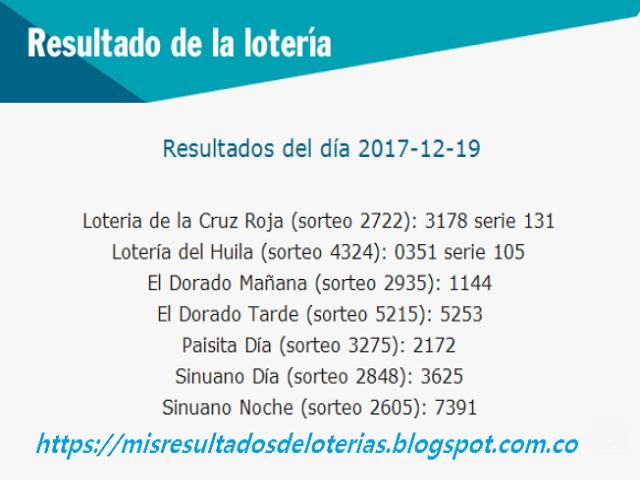 Como jugo la lotería anoche   Resultados diarios de la lotería y el chance   resultados del dia 19-12-2017