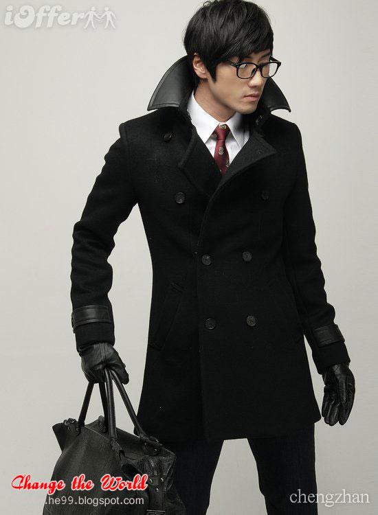 Hertira Men S Trench Coats Long Wear Big Collar Coats