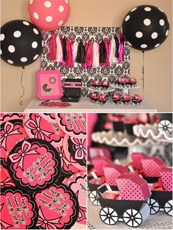 pink black glam baby shower with printables party