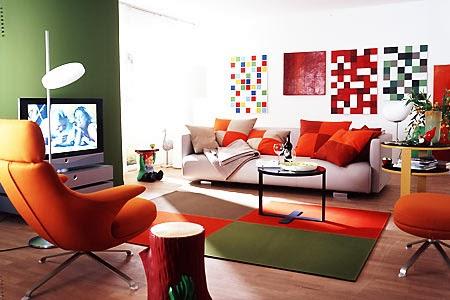 Salas en naranja y verde colores en casa - Decoracion con color naranja ...