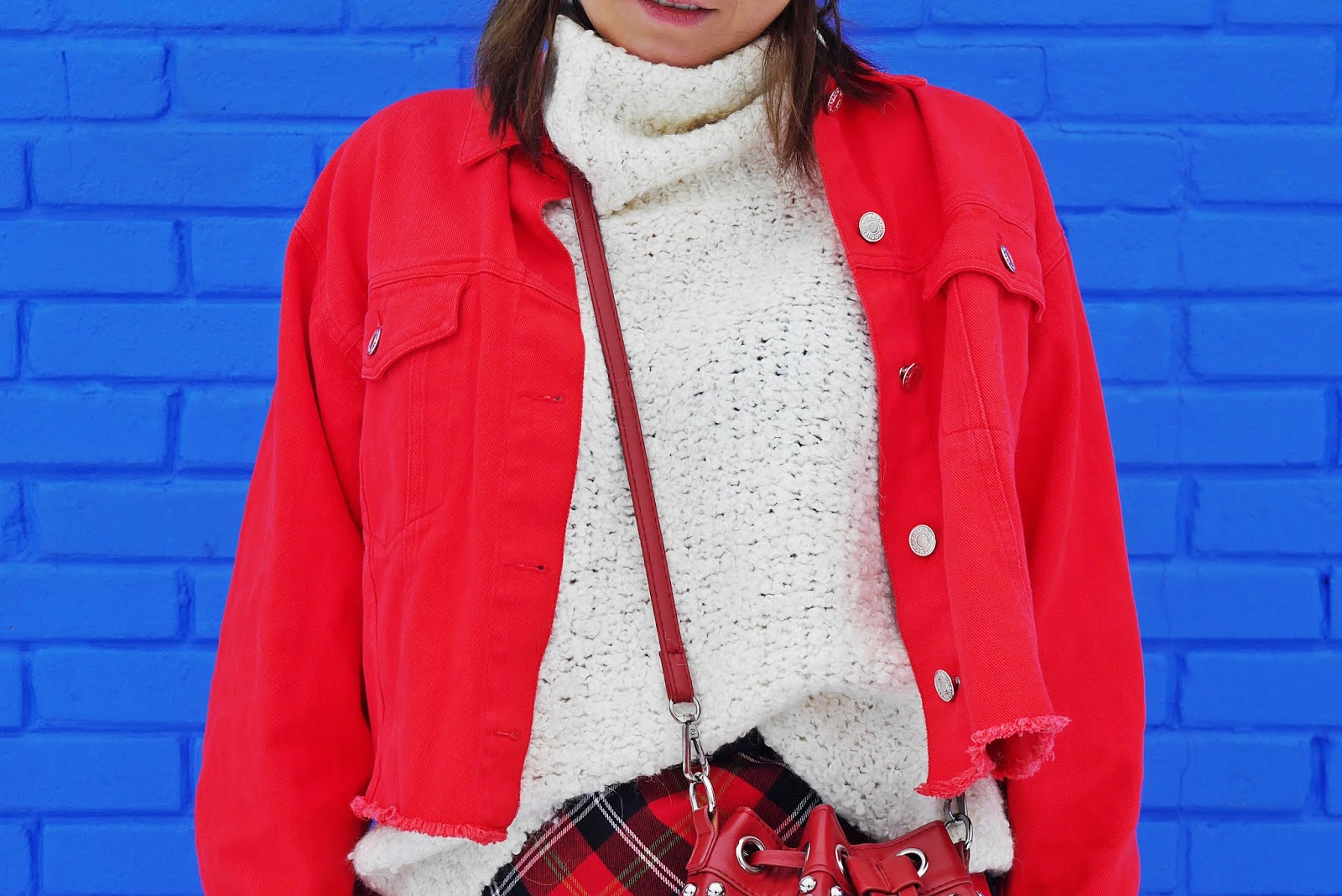 red plaid skirt high knee boots outfit shein jacket karyn fashin blogger