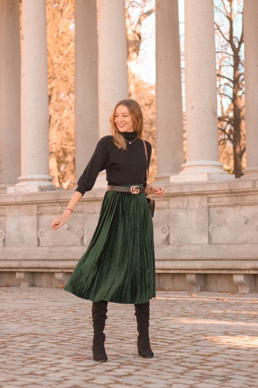green-velvet-skirt-gucci-belt-black-turtle-neck-street-style