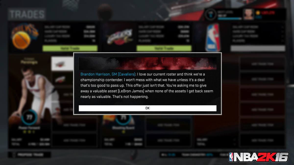 NBA 2k16 MyGM, MyLeague Modes : Trade Feedback