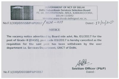 DSSSB Grade-II (DASS) Service Department Paper Cancelled (Post code – 03/2017) | Notification