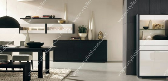 Black style of dining table furniture set