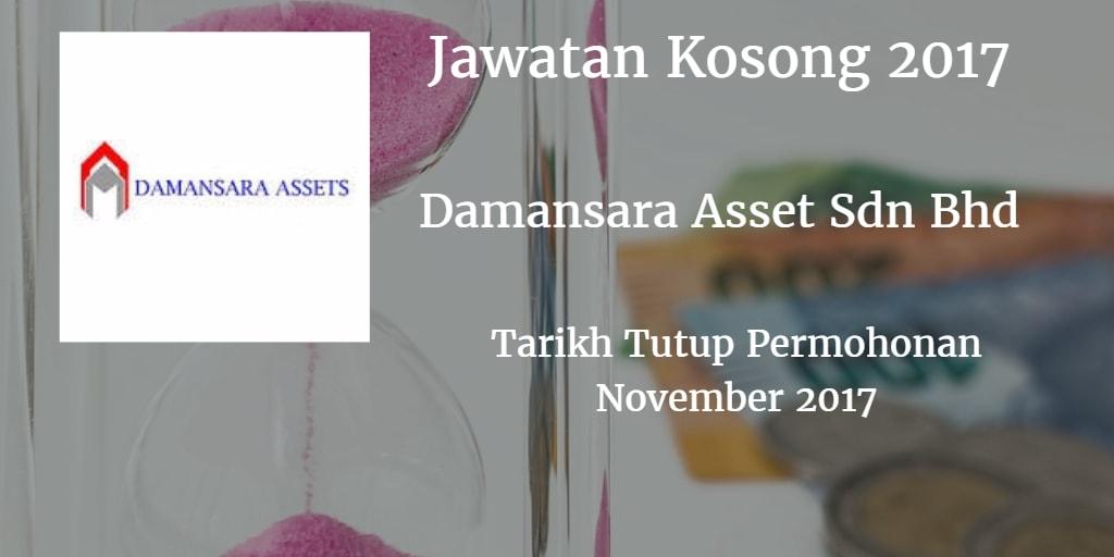 Jawatan Kosong Damansara Assets Sdn Bhd November 2017
