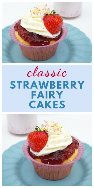 A simple recipe for old-fashioned strawberry and vanilla fairy cakes. Retro cakes like grandma made. #fairycakes #retrocakes #oldfashionedcakes #easyfairycakes #cupcakes #strawberryjam #strawberries