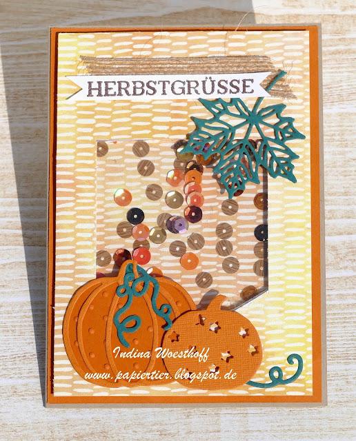 DIY Schüttelkarte | papiertier Indina | Stampin' Up! | Herbstgrüße | Erntedank