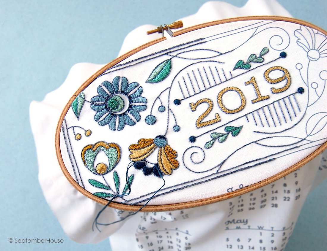 2019 Calendar embroidery kit by SeptemberHouse on Etsy
