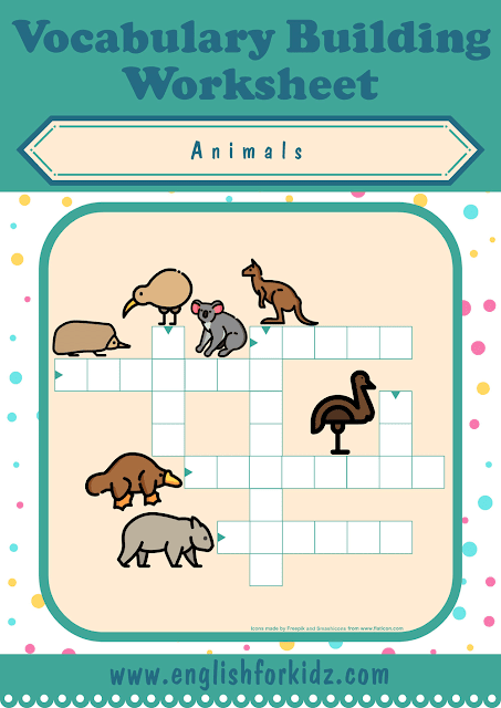 Australian animals crossword puzzle - printable ESL worksheets