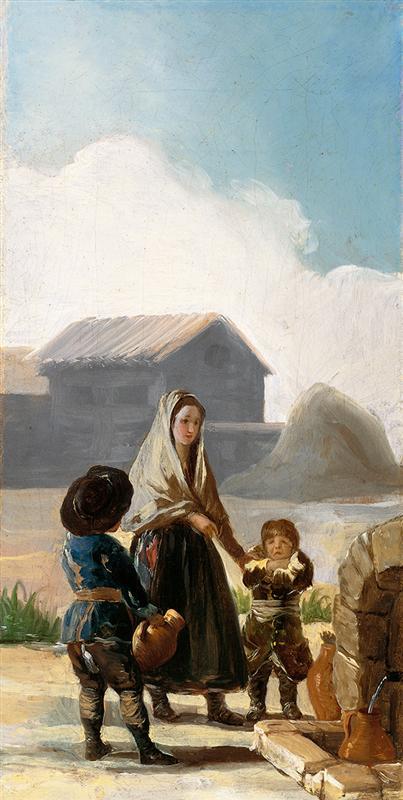 Francisco Josе de Goya Женщина и двое детей у фонтана