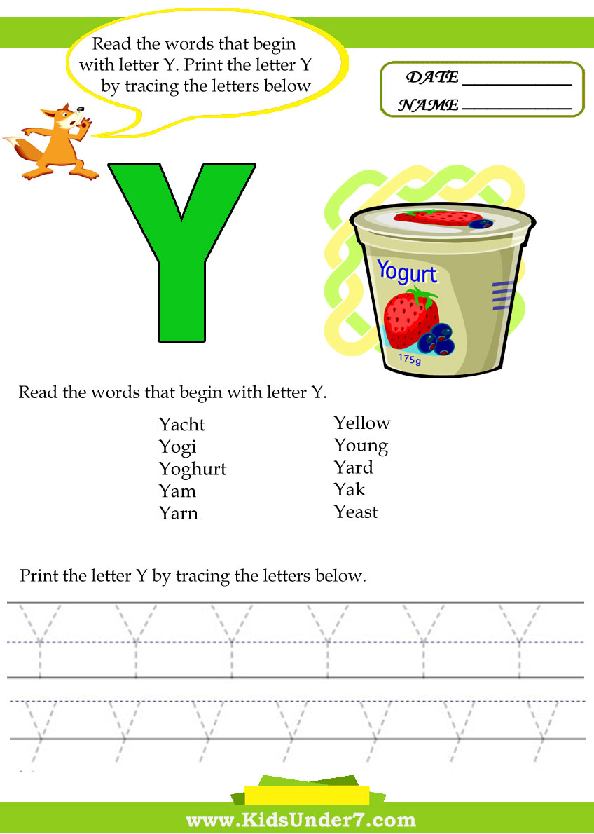 Kids Under 7: Alphabet worksheets. Trace and Print Letter Y