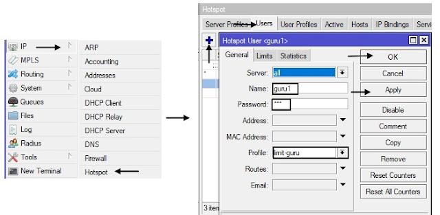 Menambahkan User dengan Profile Limit Bandwidth Yang Sudah Di Buat Mode GUI Winbox