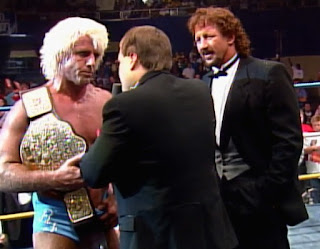 NWA Wrestlewar 1989: Terry Funk interrupts a post-match promo with new world champion Ric Flair
