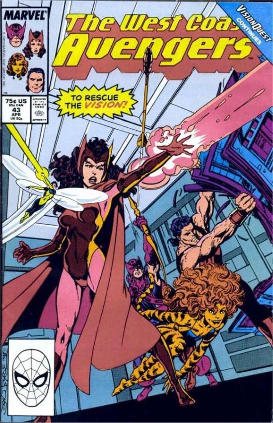 Portada de West Coast Avengers #43, por John Byrne