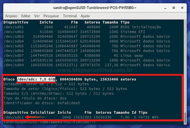 Comando fdisk -l, mostrando todos os discos do computador, incluindo o pen drive