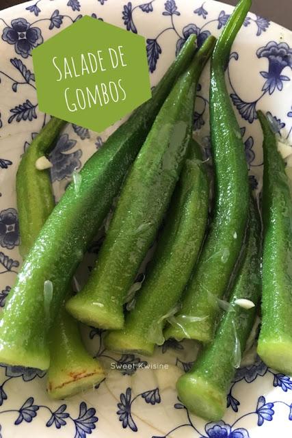 sweet kwisine, gombos, salade, ail, citron vert, cuisine antillaise, caribbean food, okra