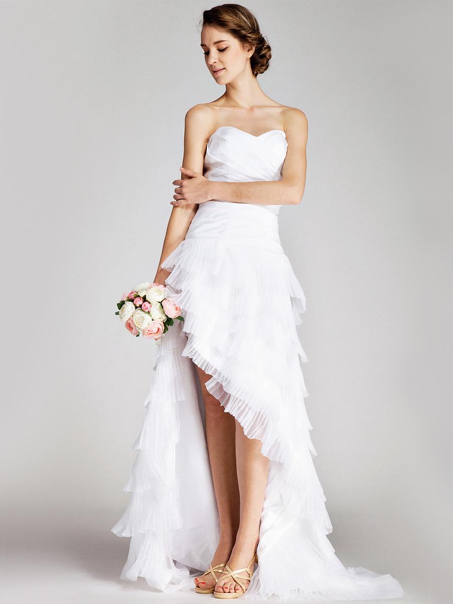 Vestidos de novia cortos con cola de pato