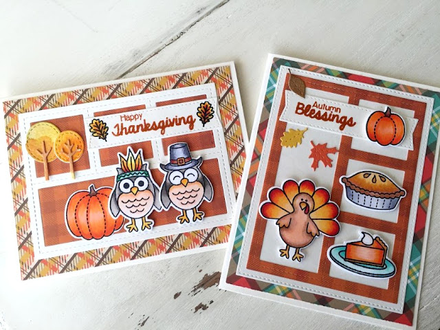 Sunny Studio Stamps: Harvest Happiness Thanksgiving cards by Julene VanKleeck