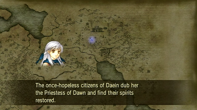 One Survives Fire Emblem Radiant Dawn Micaiah map narration Daein Priestess of Dawn spirits restored