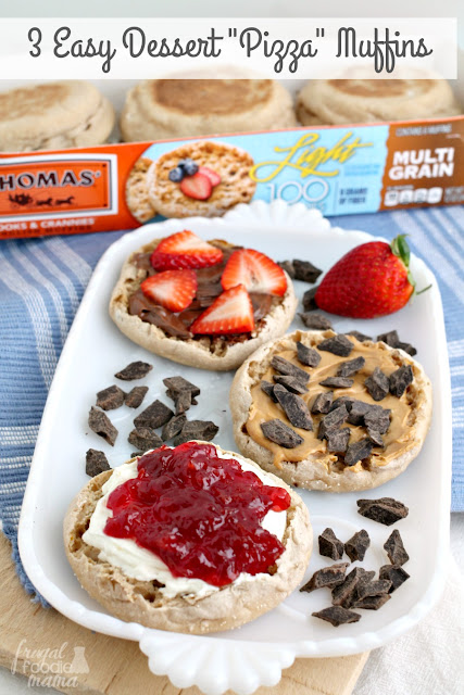 "With 3 different topping combinations to choose from, these Easy Dessert ""Pizza"" Muffins are the perfect no-bake treat for summertime."