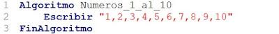Algoritmo que muestre los números