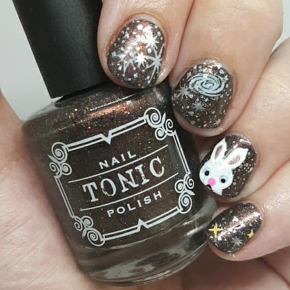 chocolate universe, short nails, nail art, stamping nail art, stars, Tonic polish, Taking on Toronto, Indie Expo Canada