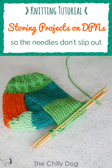 Video Tutorial: Learn how to safely store your knitting on DPNs so the needles don't slip out.