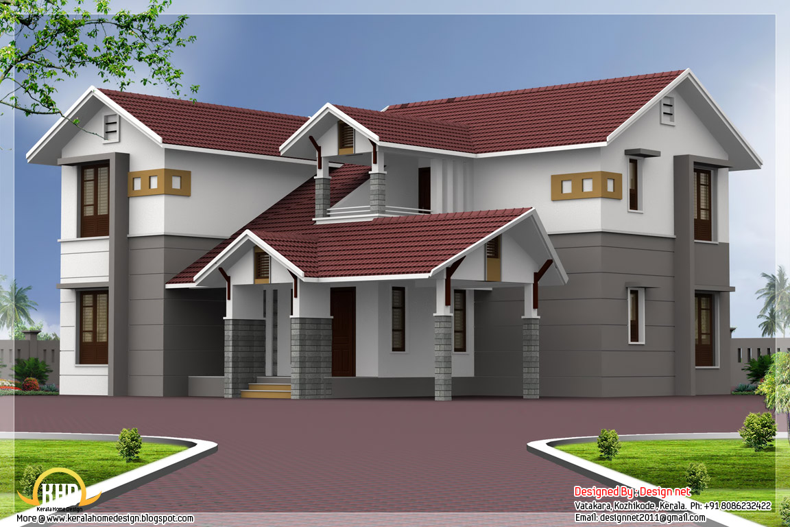 Roof Design Ideas: 4 Bedroom Sloping Roof House Elevation