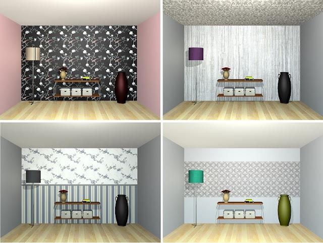 estudos em 3D de composições com papel de parede - blog Carina Pedro