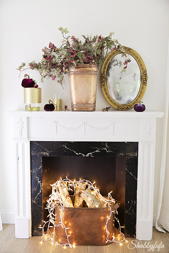 glowing fireplace at night