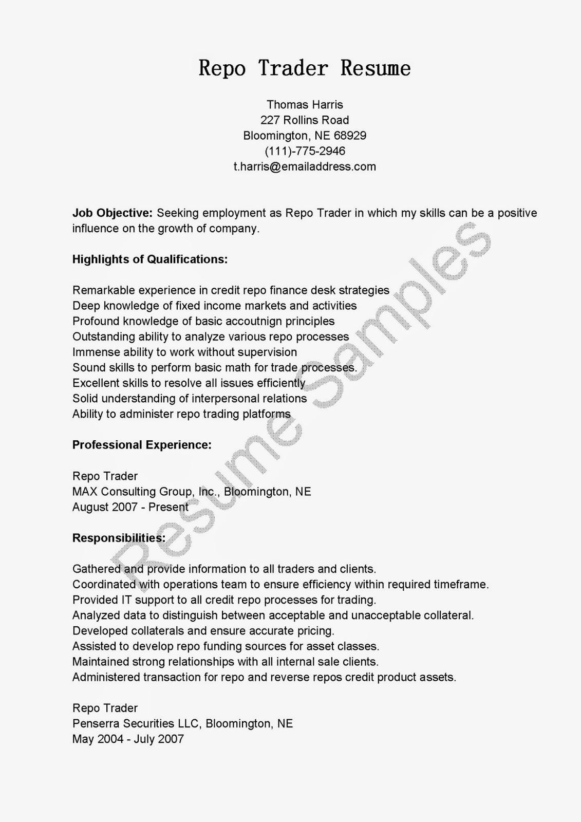 Repo Trader Cover Letter
