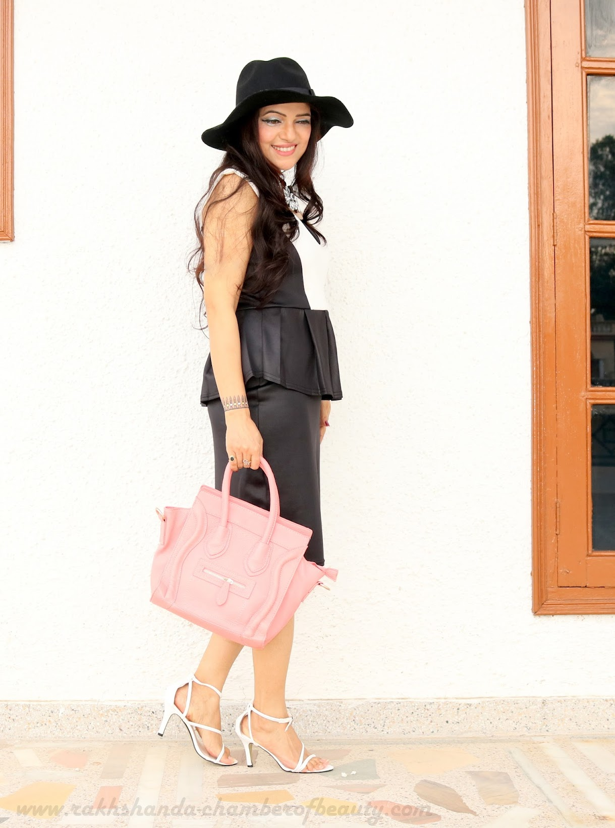 Monochrome Vibes in a Midi dress- OOTD | Summer fashion trends, The Shopper's Closet, peplum dress, Indian fashion blogger, Chamber of Beauty