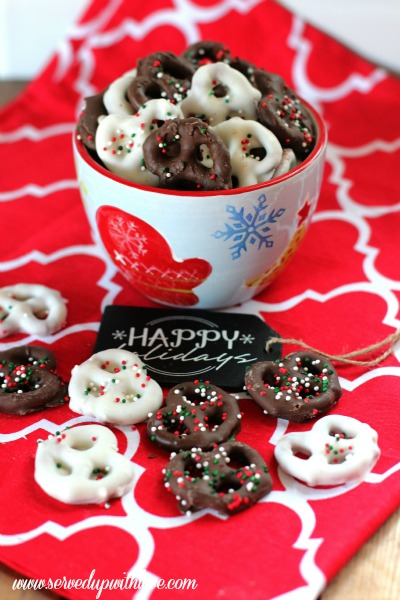 i personally prefer the white chocolate covered pretzels they just bring a little something extra to the table - Christmas Chocolate Covered Pretzels