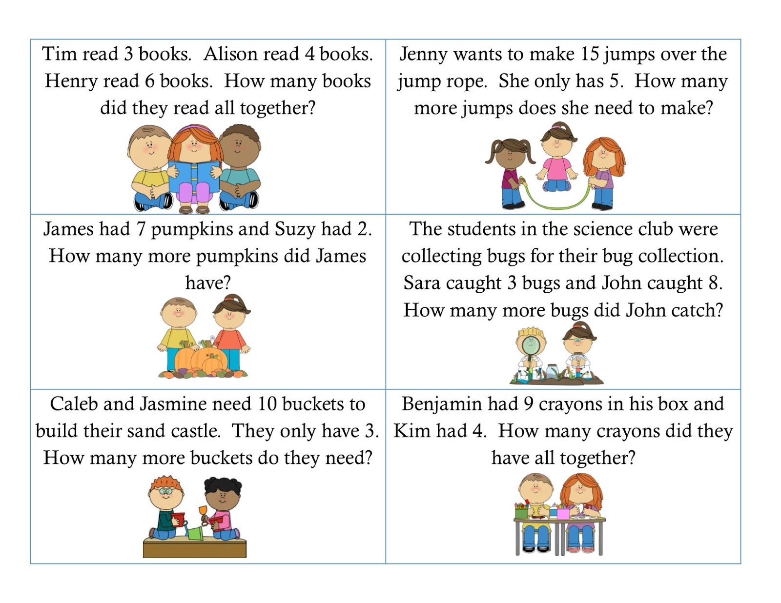 First Grade Math Word Problems Addition And Subtraction