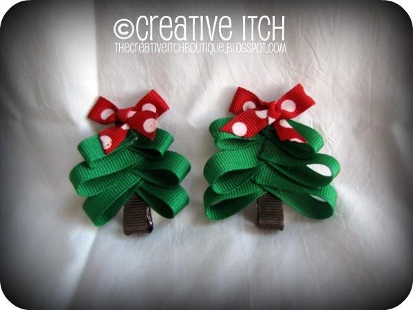 Creative Itch: Christmas Tree Hair Bows