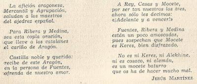Copla del artista Jesus Martínez, dedicada al Torneo Nacional de Ajedrez Fiestas del Pilar Zaragoza 1942