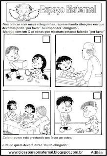 Atividades sobre valores maternal