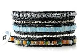 gemstone, wrap, bracelet, wide, cuff, colorful, jewelry