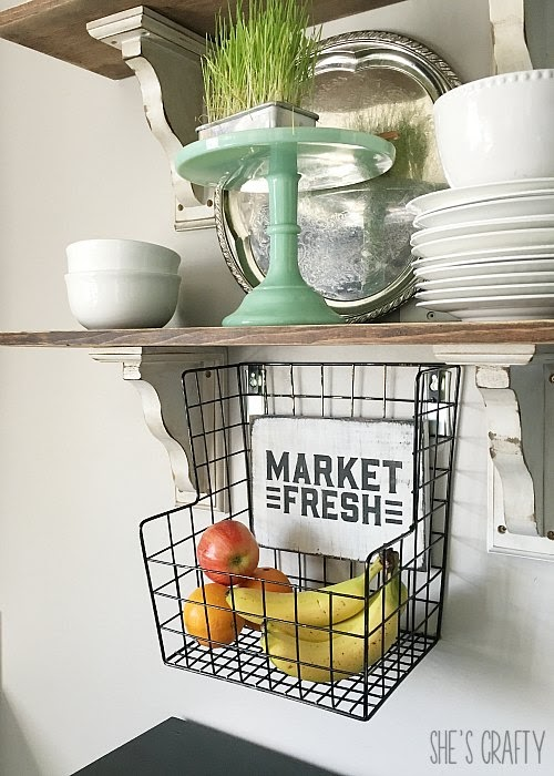 Market Fresh Produce Basket.  Metal wall hanging produce basket.