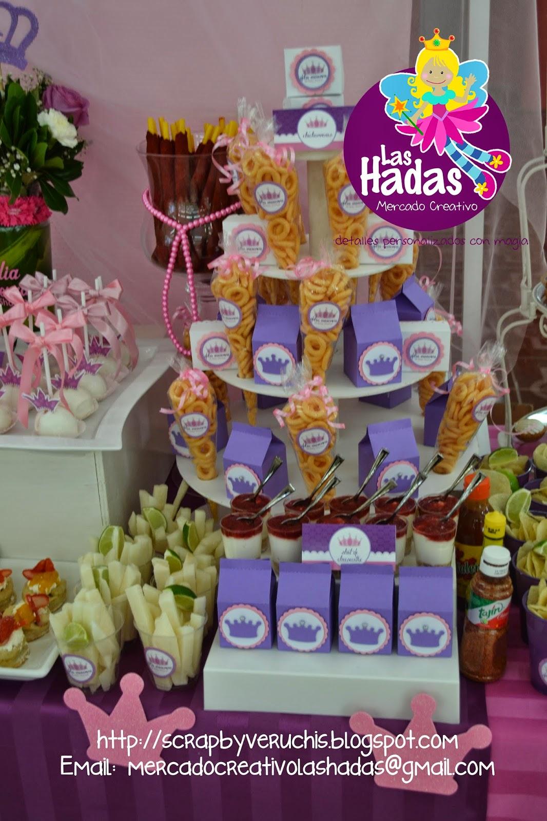 Scrapbyveruchis baby shower princesa corona for Mesa de postres baby shower
