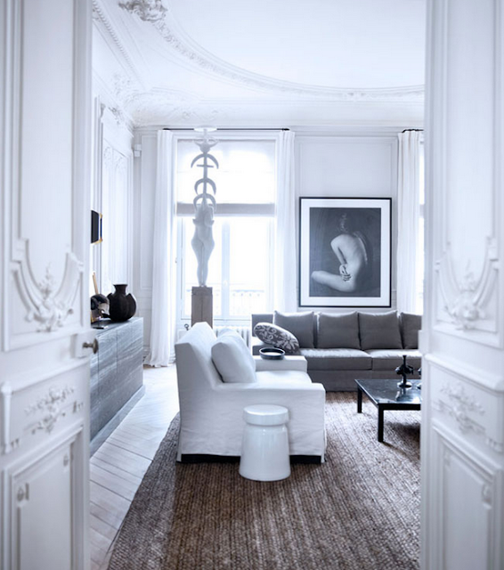 Gilles & Boissier design boiseries on doors and chevron floors via belle vivir blog