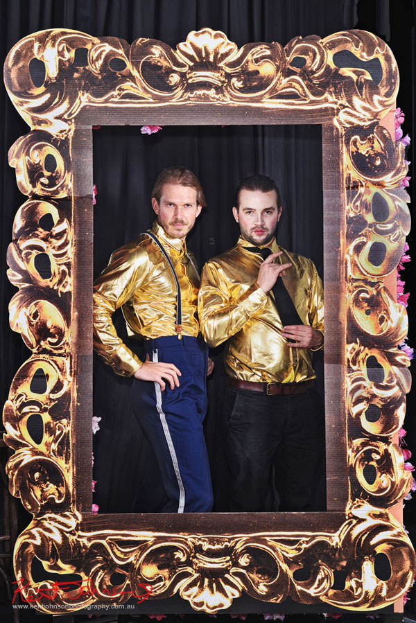 Male actors in golden shirts - Publicity stills for the play Art For Arts Sake - Photography by Kent Johnson