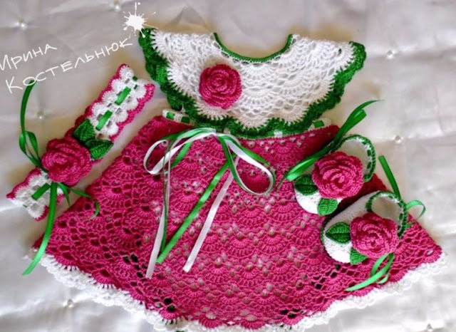 Beautiful dress for newborn with free pattern