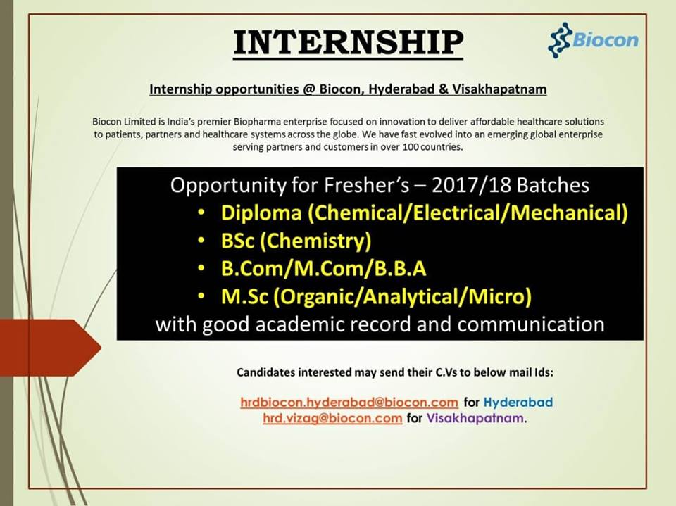 Biocon - Internship opportunities - Freshers - BSc, MSc, Diploma