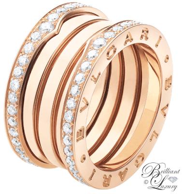 Bvlgari B.zero1 4-band 18k pink gold ring with pavé diamonds along the edge #brilliantluxury